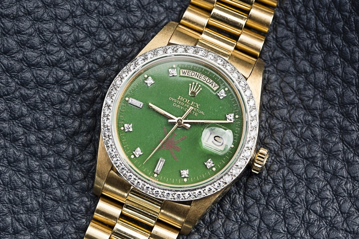 Chea Replica Rolex-Day-Date-green-lacquer-Stella-dial-for-the-Sultanate-of-Oman-watch