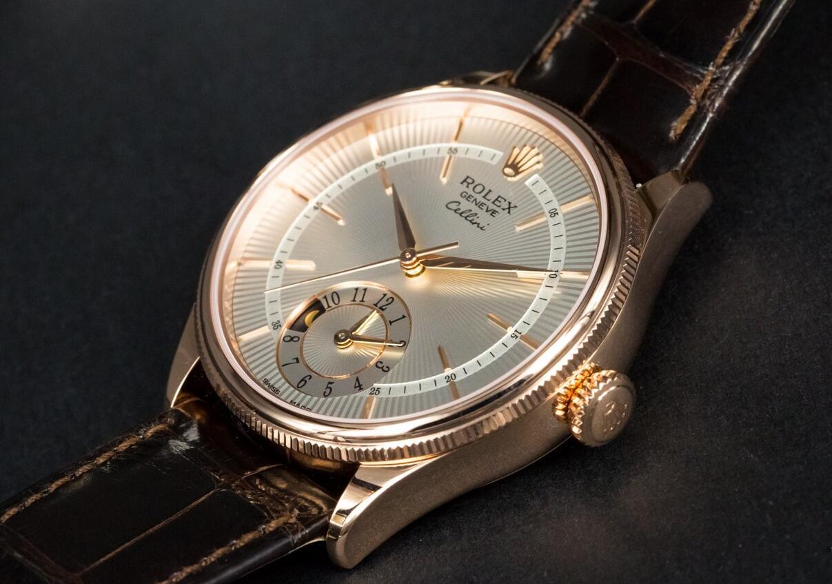 Rolex Cellini Dual Time Silver Guilloche Dial Replica Watches
