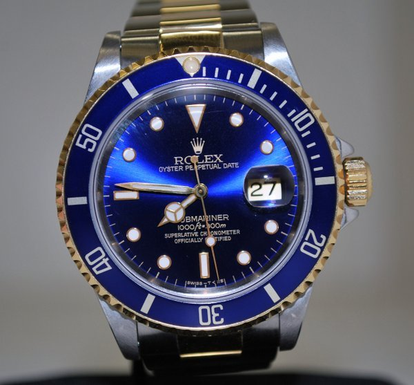 Rolex OysterPerpetual Submariner Date 18k Gold Blue Dial Replica Watches