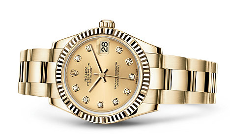 Women's Yellow Gold Rolex Datejust Replica Watches