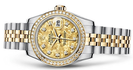 Attractive Diamond Rolex Lady-Datejust 26 Replica Watches With Yellow Gold Crystal Dials