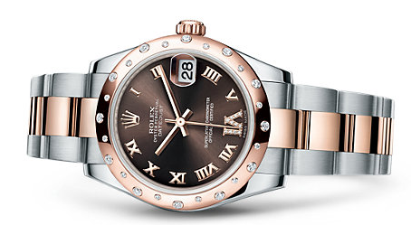 Attractive Diamond Rolex Lady-Datejust 31 Replica Watches With Chocolate Dials