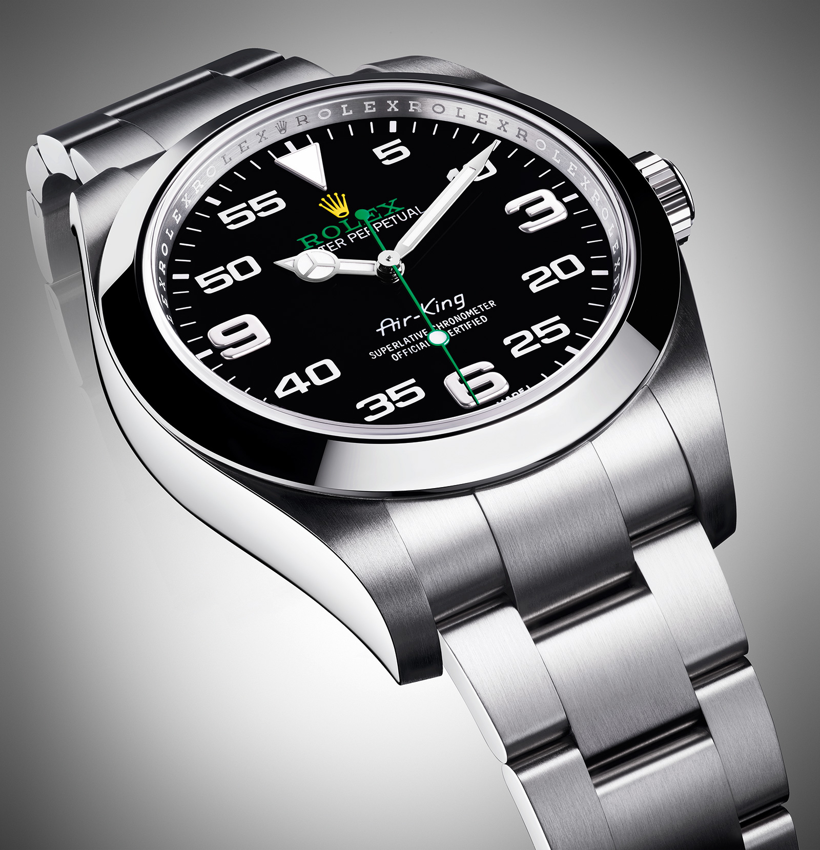 Rolex-Air-King-fake-green-second-hands