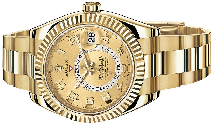 With a lot of difference from other Rolex replica watches, this yellow gold case replica Rolex Sky-Dweller watch also inherited the most classical elements.