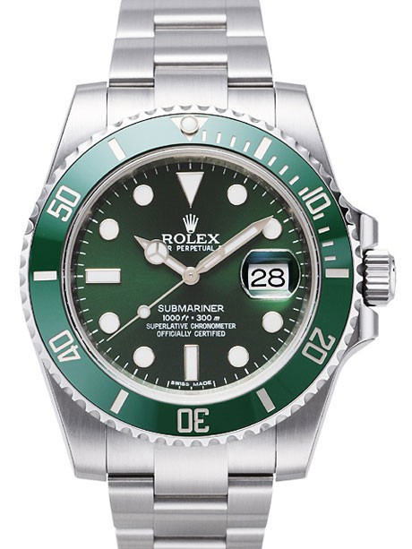 With concise and elegant design, this white scale replica Rolex watch specially adopted the green ceramic bezel, which both with hardness of ceramics and shiny luster and nobleness of the alloy, full of fashion sense.