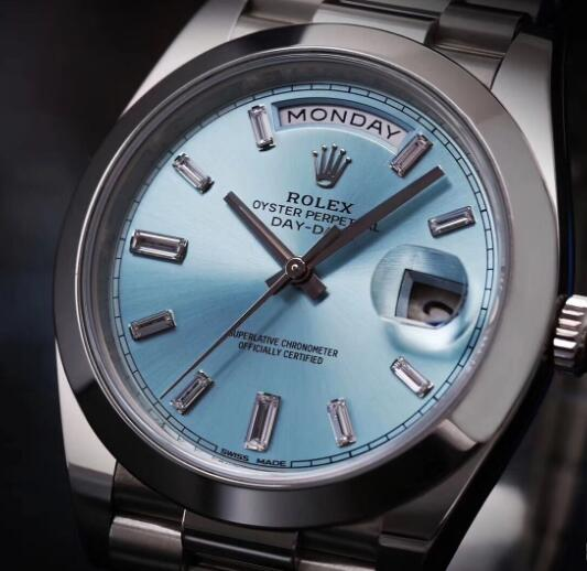 The ice-blue Day-Date looks noble and fresh.