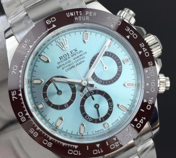 The ice-blue Daytona is very beautiful but expensive.
